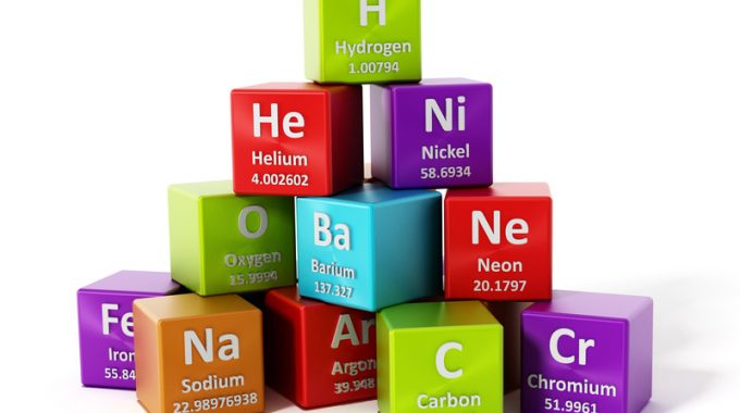 Periodic Table Elements Isolated On White Background. 3D Illustration.